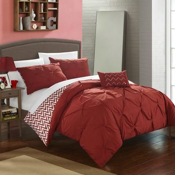 Chic Home 4-Piece Erin Pinch Pleated, REVERSIBLE Chevron Print ruffled and pleated complete Full/Queen Comforter Set Brick Shams and Decorative Pillows included Red