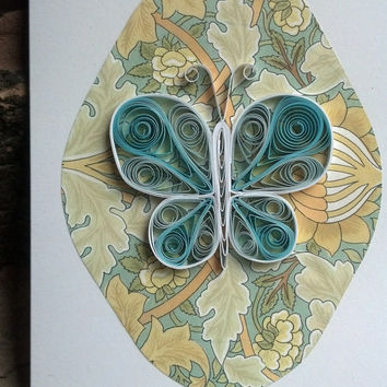 Paper Quilled Greeting Card, Turquoise Butterfly - paper quilling card, paper quilled card, quilling greeting card, quilled greeting card