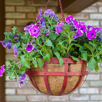 "Red Metal Banded Hanging Outdoor Basket Planter - 30"" Tall"