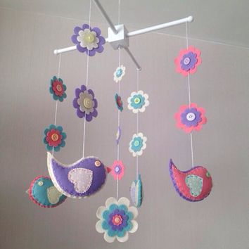 Baby Crib Mobile - Cot Mobile - Baby Mobile - Birds anf Flowers - Nursery decor - Girls Decor