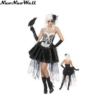 Bride of Vengeance Adult Women Skeleton Bride Cosplay Costume Halloween Party Fancy Dress Sexy Sugar Skull Ghost Vampire