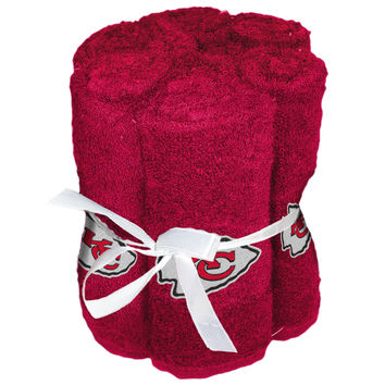 "Chiefs National Football League, 12""""x 12"""" Washcloths (6 Pack) with Embroidered Applique Logo"