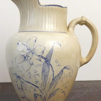 Antique Ironstone Pitcher, Iowa Blue Floral Transferware Pottery, Farmhouse Kitchen Decor