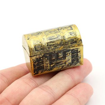 2Pcs Vintage Treasure Box Dollhouse Miniature Mini Pirate Jewelry Box Case Kids Play Toys  Doll House Accessories
