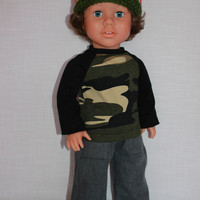 18 inch boy doll clothes, crochet beanie hat, camouflage baseball tee, grey denim wide leg jeans, american girl, maplelea