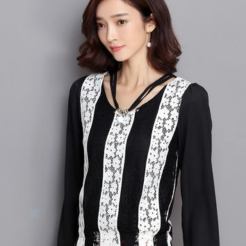 Women blouse Autumn New Fashion Casual shirt Embroidered Women lace Tops Plus size Long sleeve shirt