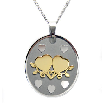 Hold A True Friend Double Heart Stainless Steel Necklace