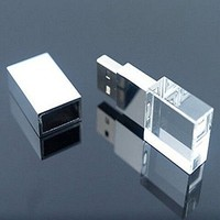LANYOS 64GB New Crystal transparent rectangle Genuine USB Flash Drive 3.0 Wedding Gift Pendrive,Silver