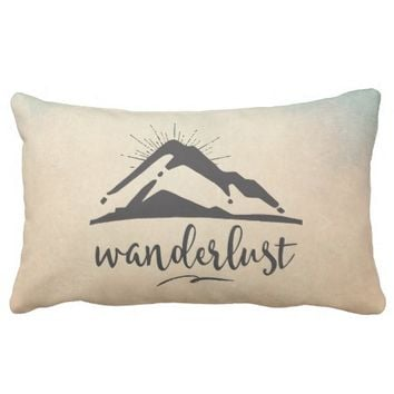 Mountain with Sunrays - Wanderlust Typography Throw Pillow
