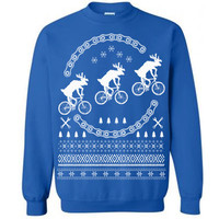 Reindeers on Bikes Ugly Christmas Sweater Flex Fleece Pullover Classic Sweatshirt - S M L XL and XXL (3 Color Options)