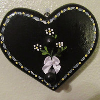 Up-Cycled Cottage Chic Hand Painted Black Heart With White Flower Ring or Key Holder