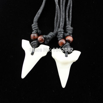 Cool Imitation Yak Bone Shark Tooth Necklace White Teeth Amulet Pendant for men women's jewelry MN577