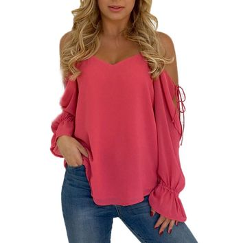 Women Fashion Tops Open Shoulder Long Tie Sleeve Solid Color Shirt Ladies Hot Pink Blouse Roupa Feminina #VE