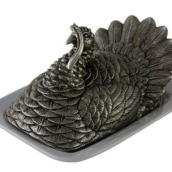 Pewter Turkey Butter Dish