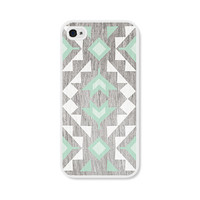 Geometric Apple iPhone 4 Case - Plastic iPhone 4s Case - Wood Tribal Southwest iPhone Case Skin - Mint Green Brown White Cell Phone For Him