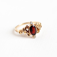Antique Victorian 10k Rose Gold Garnet Seed Pearl Ring - Size 7 Vintage 1900s Red Gemstone January Birthstone Fine Swirled Filigree Jewelry