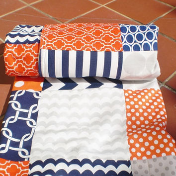 Baby quilt,Nautical,navy,grey,orange,Baby boy bedding,baby girl quilt,Patchwork Crib quilt,chevron baby blanket,dots,waves,modern,cot,fleece