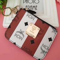 """""""MCM"""" Stylish White Coffee Stripe Leather Card Pack Card Bag Card Zipper Mini Thin Card Package Zero Wallet(5-Color) I12551-8"""