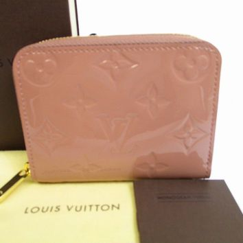 Auth LOUIS VUITTON Vernis Patent Leather Rose Veruru Zippey Coin Purse #6542
