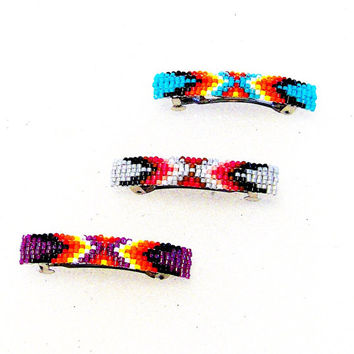Native American Design Beaded Hair Clip Barrettes - Set Of 3 - Hand Beaded Barrettes/Hair Accessories/Bath And Beauty/Gifts For Her