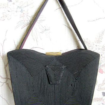 Coronet Dark Brown Corde Handbag Vintage 1950s Cotton Cord Day Purse
