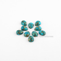 Copper Blue Turquoise Pear Smooth Calibrated Cabochons, Wholesale Loose Gemstone for Making Jewelry - 10 Pcs.