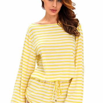 Yellow White Batwing Stripe Cover-Up Romper