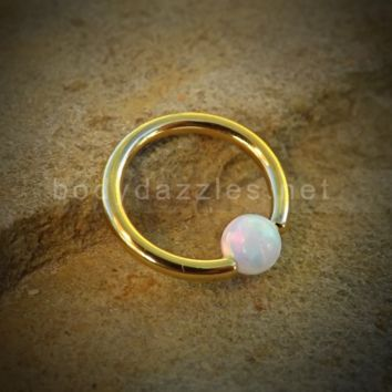 Golden Hoop Opal Captive Hoop 16ga Surgical Steel Cartilage Tragus Heliz Conch