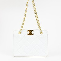 Chanel Vintage White Lambskin Leather Quilted 'CC' Shoulder Bag