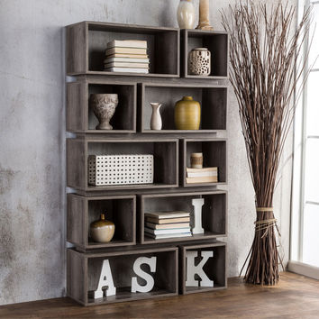 furniture of america cassidy tiered distressed grey 10 shelf ope - Overstock Bookshelves