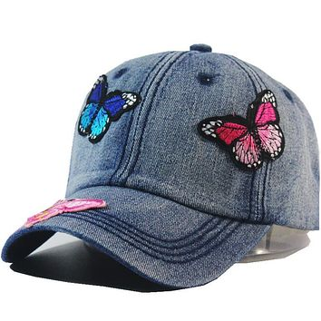 Women Butterfly Embroidery Baseball Cap Washed Cotton Low Profile Denim Hat Casquette Adjustable Jean Snapback Hats Caps