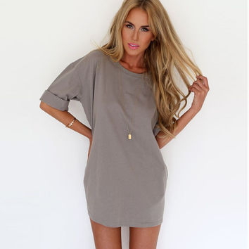 HOT CUTE A ROUND COLLAR SLEEVES LOOSE SNOW SPINS THE A-LINE DRESS