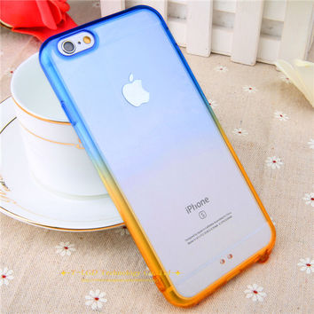 Blue Orange Gradient Rainbow Clear iPhone Cases for iphone 5 5s 6 6s 6 plus 6s Plus