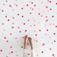 "Mini 2"" Millennial Pink Orange Polka Dot Wall Decals, Reusable Decals"