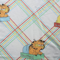 Vintage Garfield Rainbow Striped Twin Flat Sheet 1970s