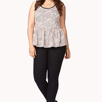 Rose Jacquard Peplum Top