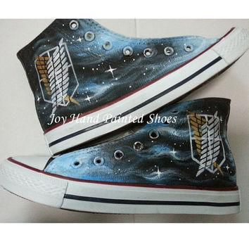Attack on Titan Anime Converse Custom Painted Hi Top Canvas Attack on Titan Shoes Conv