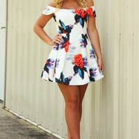 Seduced By Flowers Dress: White/Multi