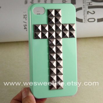Studded Iphone 4 Case Cross Silver pyramid studs by wesweetlife