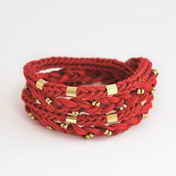 Dark red wrap bracelet, braided wrap bracelet, knit bracelet, burgundy bracelet