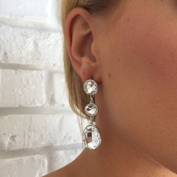 Clear Crystal Ball Earrings In Silver