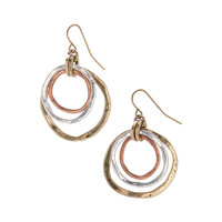 Tri-Tone Layered-Circle Drop Earrings