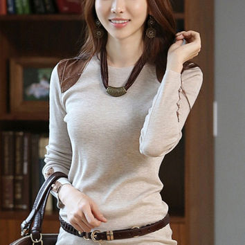 Grey Long Sleeve Blouse with Button Design