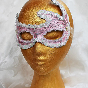 Pink and Silver Metallic Brocade Leather Masquerade Mask Pink High Fashion Masquerade Ball Mask