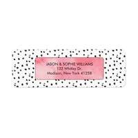 Grunge Black and White Polka Dots Pink Watercolor Label