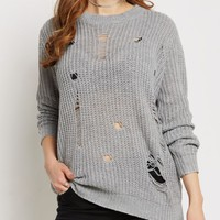 Gray Destroyed Chunky Knit Sweater | Sweaters | rue21