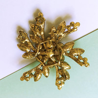 Modern Retro Green and Purple Rhinestone Pinwheel Brooch, Vintage 1980s Gold Tone Flower Pin with Chatons and Marquis Rhinestones