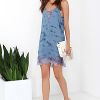 Amuse Society Poppy Blue Tie-Dye Dress