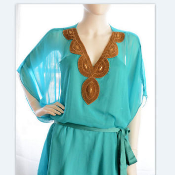 turquoise short kaftan dress beach dress sheer turquoise embellished kaftan evening dress
