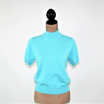 Short Sleeve Sweater Top Knit Mock Neck Pullover Small Petite Aqua Blue Vintage Clothing Womens Sweaters Womens Top Allison Daley Hong Kong